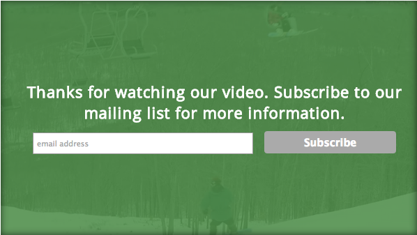 Mailing list sign up using SproutVideo Post-Play Calls to Action.