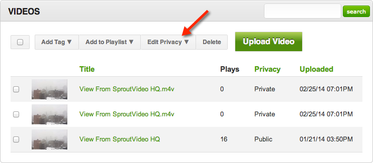 Changing privacy settings for videos hosted on SproutVideo