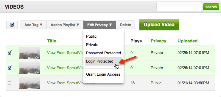 Selecting new privacy settings for videos hosted on SproutVideo
