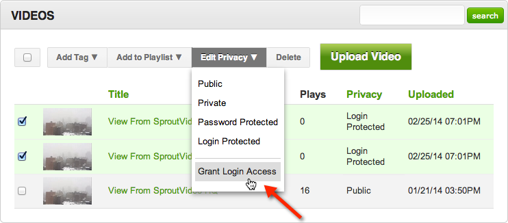 Manage logins for videos hosted on SproutVideo