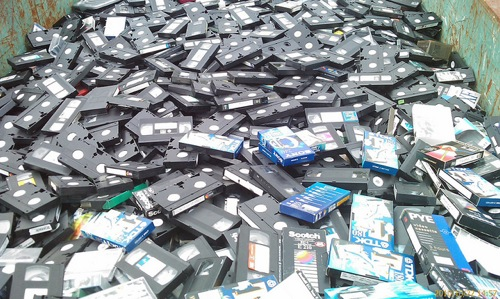 Large Pile of Video Cassettes