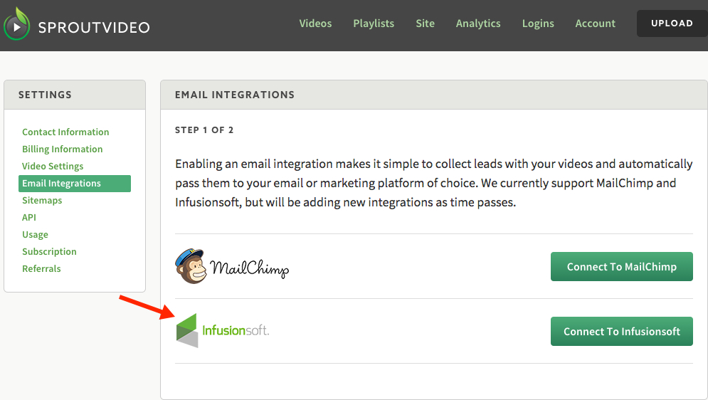 How to integrate Infusionsoft with your SproutVideo video hosting account