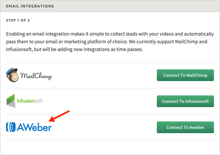 New video marketing integration with Aweber