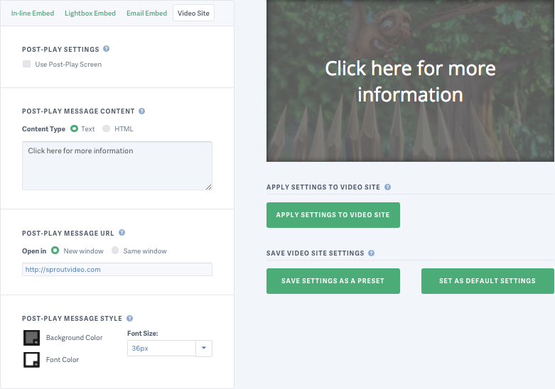 Custom Post Play Screens on SproutVideo Landing Pages and Websites